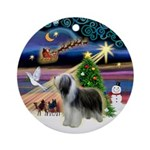XmasMagic-Bearded Collie (std) Ornament (Round)