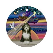 XmasAngel - Bearded Collie (#9) Ornament (Round)