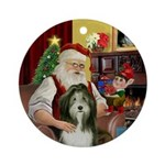 Santa and his Bearded Collie (#9) Ornament (Round)