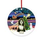 XmasMagic-Bearded Collie (#9) Ornament (Round)