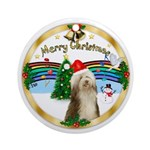 XmasMusic3-Bearded Collie (hat) Ornament (Round)