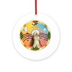XmasMusic Gold Wreath-Beardie #10 Ornament (Round)