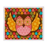 Owl Boheme Pink Throw Blanket