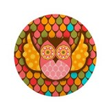 "Owl Boheme Pink 3.5"" Button"