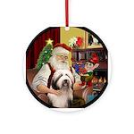 Santa & his Bearded Collie (P) Ornament (Round