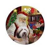 Santa &amp;amp; his Bearded Collie (P) Ornament (Round