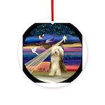 XmasAngel-Bearded Collie (#10) - Ornament (Round)