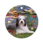 Lilies2 - Bearded Collie (ld) Ornament (Round)