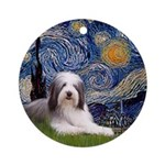 Starry Night - Bearded Collie (ld)Ornament (Round)