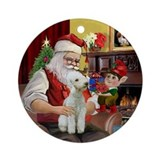 Santa and his Bedlington T#1 Ornament (Round)