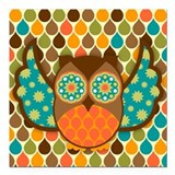 "Owl Boheme Brown Square Car Magnet 3"" x 3"""