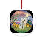 CLoud Angel-Bedlington Terrier Ornament (Round)