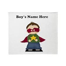 Personalized Super Hero Boy Throw Blanket