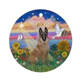 Autumn Angel - Belgian Malinois Ornament (Round)