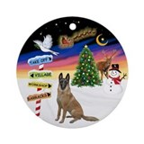 Xmas Signs - Belgian Malinois Ornament (Round)