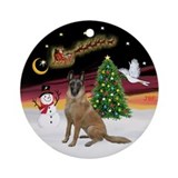Night Flight - Belgian Malinois Ornament (Round)
