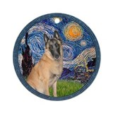 Starry Night - Belgian Malinois Ornament (Round)