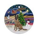 Xmas Magic-Belgian Malinois Ornament (Round)