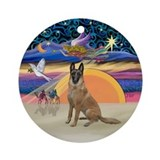 Xmas Angel-Belgian Malinois Ornament (Round)