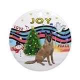 Xmas Music-Belgian Malinois Ornament (Round)