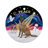 Xmas Sunrise-Belgian Malinois Ornament (Round)