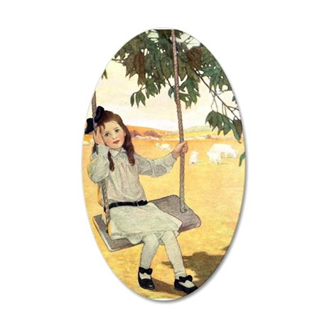 Girl on a Swing 20x12 Oval Wall Decal