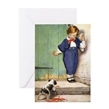A Boy and His Puppy Greeting Card