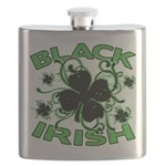 Black Shamrocks Black Irish Flask