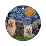 Starry Night-hree Cairn Terriers Ornament (Round)