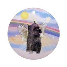 Clouds - Brindle Cairn Angel Ornament (Round)