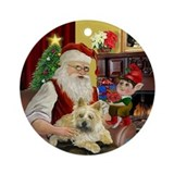 Santa's Cairn Terrier (ld) Ornament (Round)