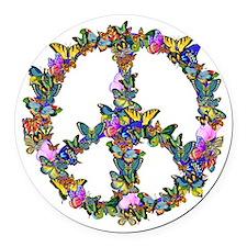 Butterflies Peace Sign Round Car Magnet
