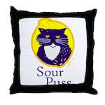 Funny Sour Puss Cat Throw Pillow