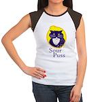 Funny Sour Puss Cat Women's Cap Sleeve T-Shirt