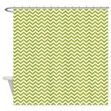 Green Chevron Shower Curtain