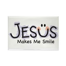 Jesus Makes Me Smile: Rectangle Magnet (10 pack)