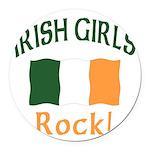 Irish girls rock (blk) T-Shirt.png Round Car Magne