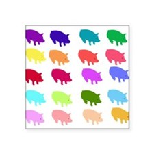 "pigs_rainbow01.png Square Sticker 3"" x 3"""