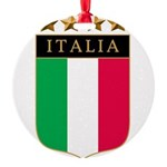 Italian 4 star FLAG(white).png Round Ornament