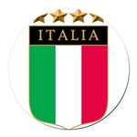 Italian 4 star FLAG(white).png Round Car Magnet