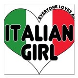 "Italian girl T-Shirt.png Square Car Magnet 3"" x 3"""