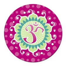 Lotus Aum Fuschia Round Car Magnet