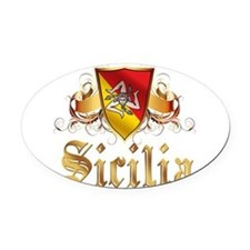 3-sicilian pride.png Oval Car Magnet