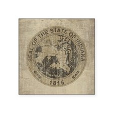 "Vintage Indiana Seal Square Sticker 3"" x 3"""