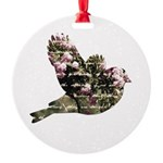 Inspired Pink Roses Bird Round Ornament