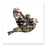 Inspired Pink Roses Bird Square Car Magnet 3