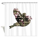 Inspired Pink Roses Bird Shower Curtain