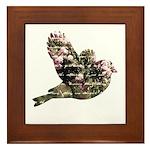 Inspired Pink Roses Bird Framed Tile