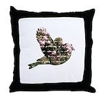 Inspired Pink Roses Bird Throw Pillow