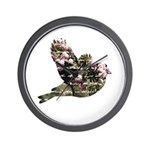 Inspired Pink Roses Bird Wall Clock